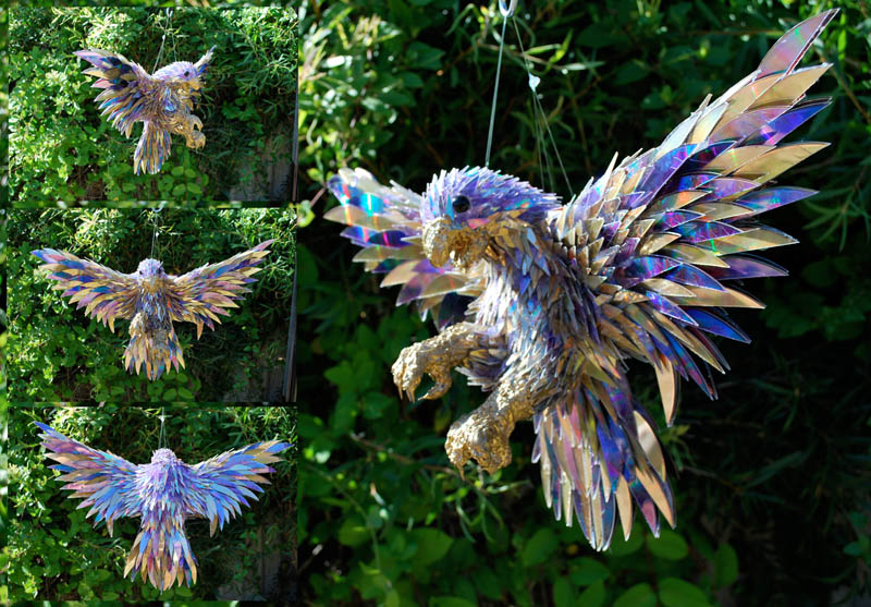 animal sculptures made from shattered cds sean avery 9 10 Amazing Animals Sculptures Made from Shattered CDs