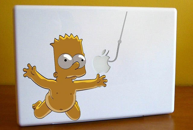bart nirvana macbook decal sticker 50 Creative MacBook Decals and Stickers