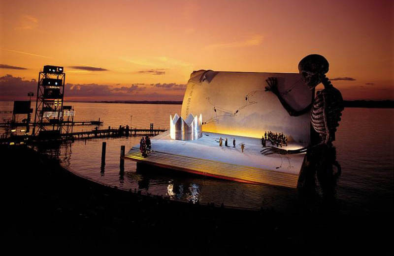bregenz opera on the lake a masked ball giuseppe verdi giant skeleton book stage Stadium in Berlin Gets Turned Into Giant Living Room with 750 Couches and 700 TV