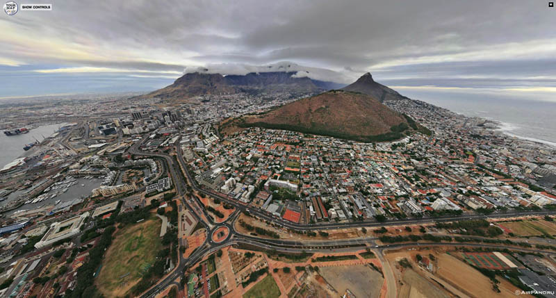 cape town south africa from above aerial panorama 1 Top Ten 360 Panoramas of Cities Around the World