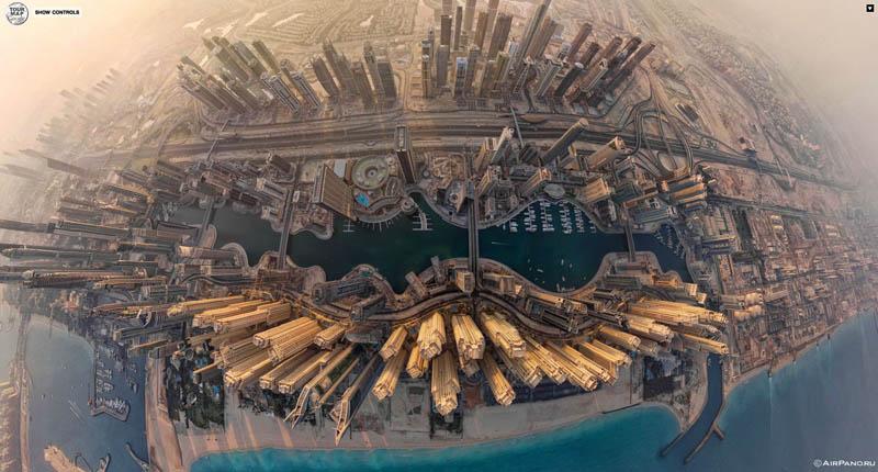 dubai uae aerial panoramic from above 1 Top Ten 360 Panoramas of Cities Around the World