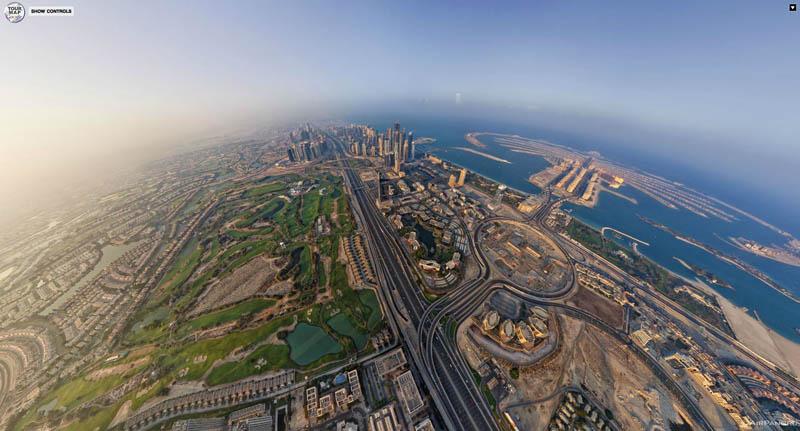 dubai uae aerial panoramic from above 2 Top Ten 360 Panoramas of Cities Around the World