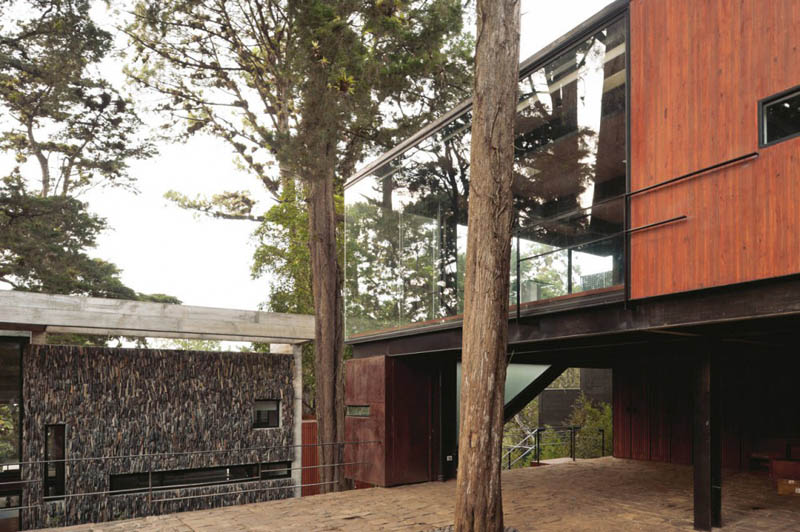 house in forest with trees growing through it 20 An Incredible Home in the Forest With Trees Growing Through It