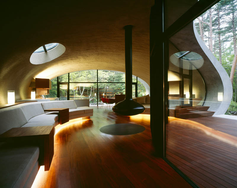 japanese oval sushi roll house villa cottage 16 An Oval Shaped Villa in the Forests of Japan