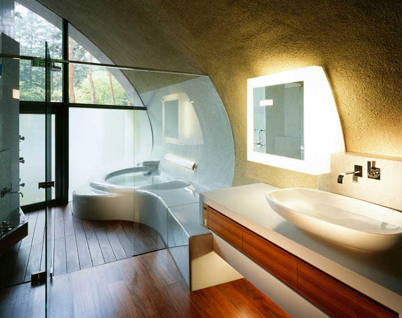 japanese oval sushi roll house villa cottage 21 An Oval Shaped Villa in the Forests of Japan
