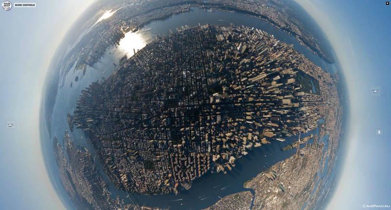 manhattan new york city aerial from above 3 Top Ten 360 Panoramas of Cities Around the World