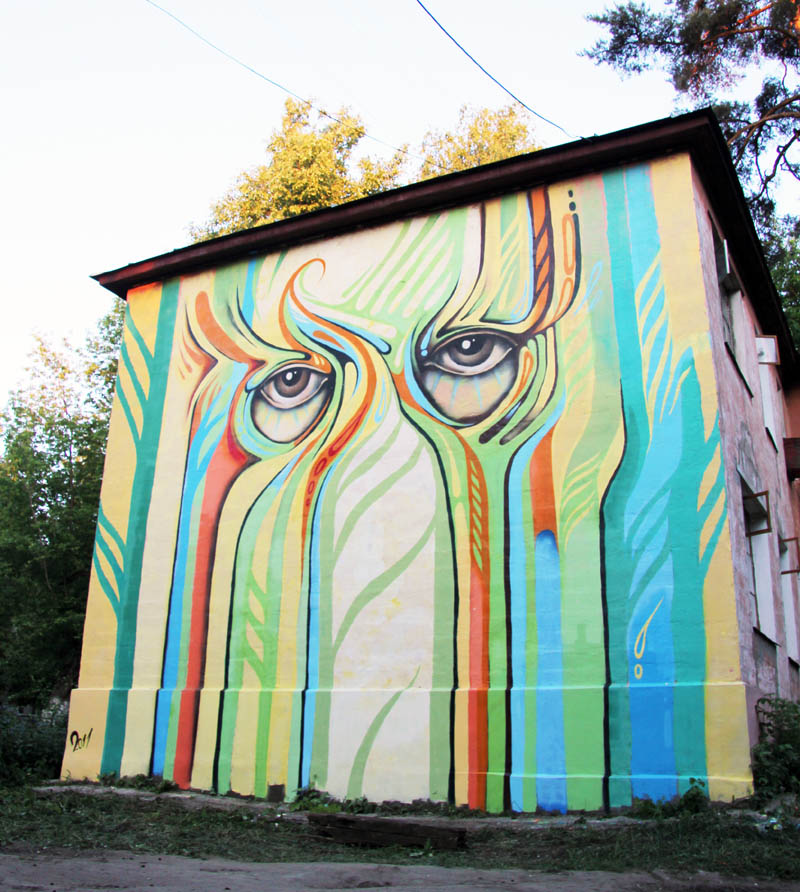 street art nikita nomerz bringing buildings to life 1 Painting Faces to Bring Buildings to Life