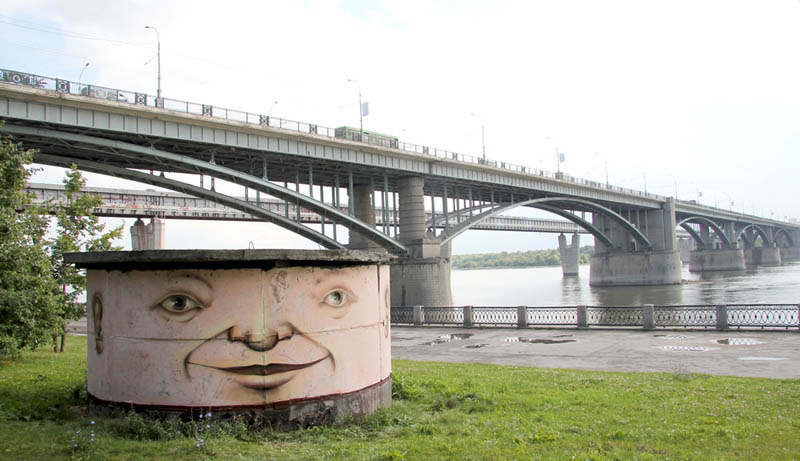 street art nikita nomerz bringing buildings to life 13 Painting Faces to Bring Buildings to Life