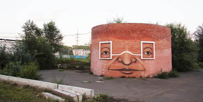 street art nikita nomerz bringing buildings to life 16 Painting Faces to Bring Buildings to Life