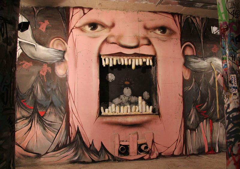 street art nikita nomerz bringing buildings to life 18 Painting Faces to Bring Buildings to Life