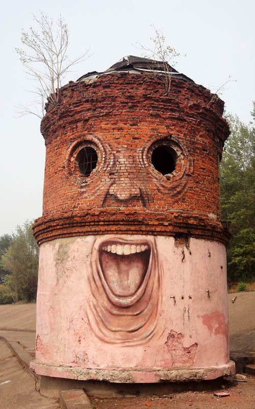 street art nikita nomerz bringing buildings to life 19 Adding Aliens to Thrift Shop Paintings