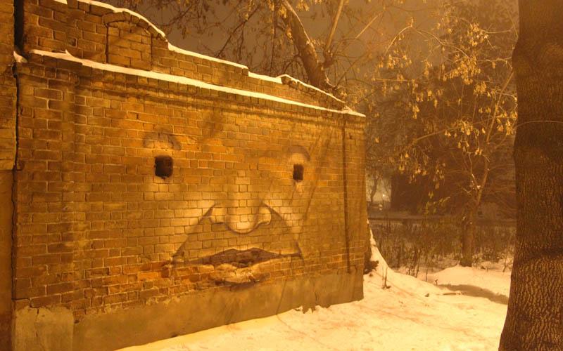 street art nikita nomerz bringing buildings to life 5 Painting Faces to Bring Buildings to Life