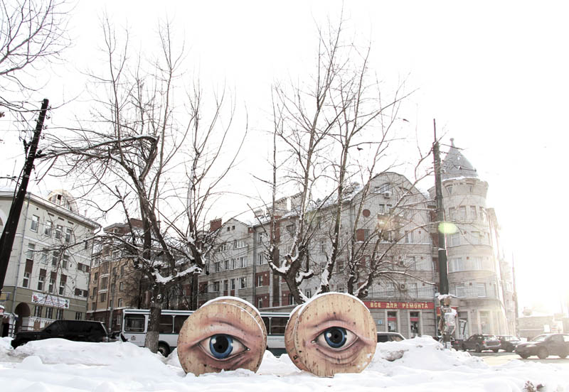 street art nikita nomerz bringing buildings to life 6 Painting Faces to Bring Buildings to Life