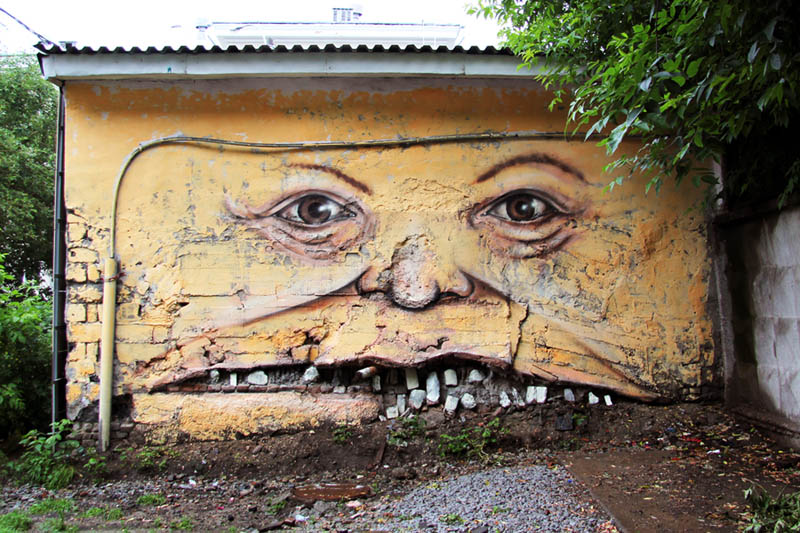 street art nikita nomerz bringing buildings to life 8 Painting Faces to Bring Buildings to Life