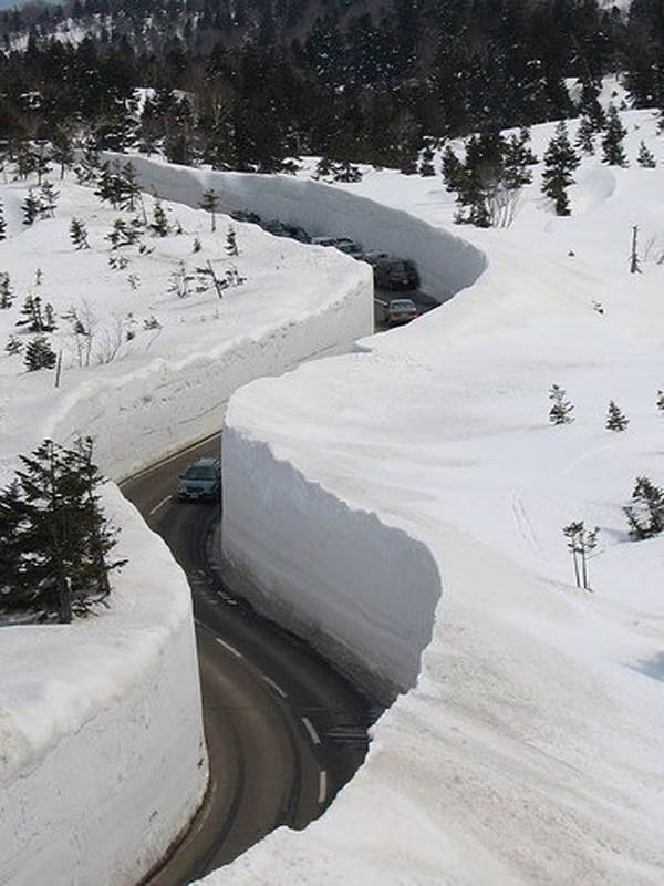 tateyama kurobe alpine route snow corridor 20 meters 65 ft walls 4 The 65 Foot (20m) Snow Corridor in Japan