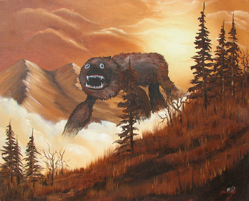 adding monsters to thrift store landscape paintings chris mcmahon 2 Couple Turns Engagement Photos Into Epic Series of Movie Posters