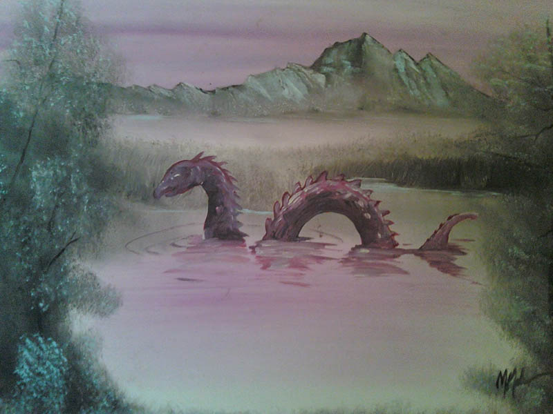 adding monsters to thrift store landscape paintings chris mcmahon 3 Adding Monsters to Thrift Store Paintings