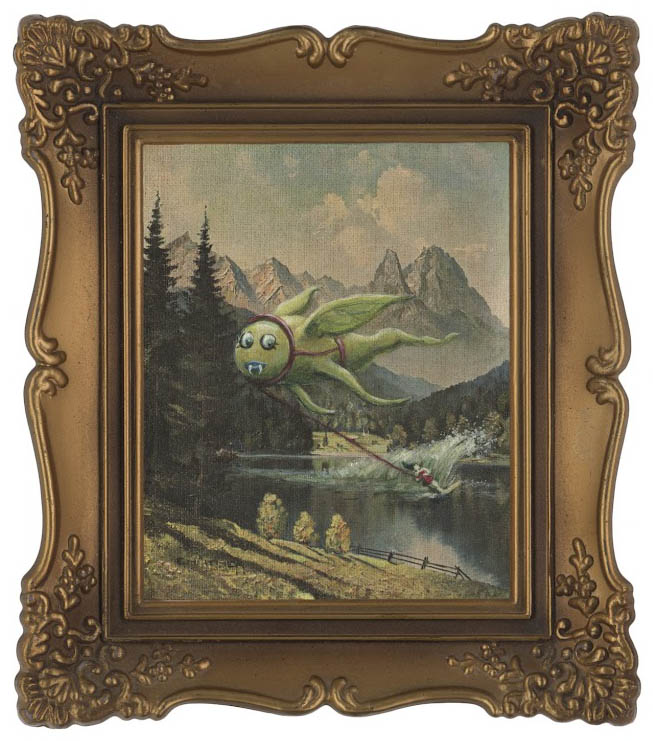 adding montsters to thrift store landscape paintings thyrza segal 4 Adding Monsters to Thrift Store Paintings