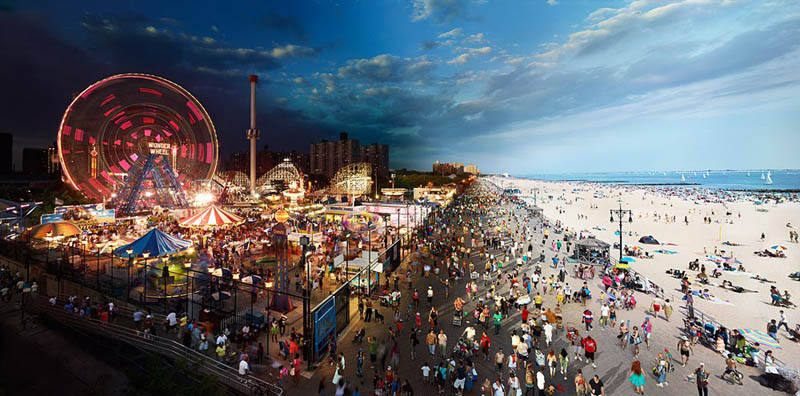 coney island day to night in same photograph stephen wilkes Blending Scenes from WWII into Present Day
