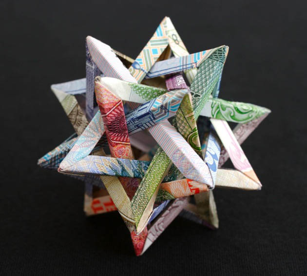 geometric shapes made from currency kristi malakoff 2 Geometric Shapes Made from Currency