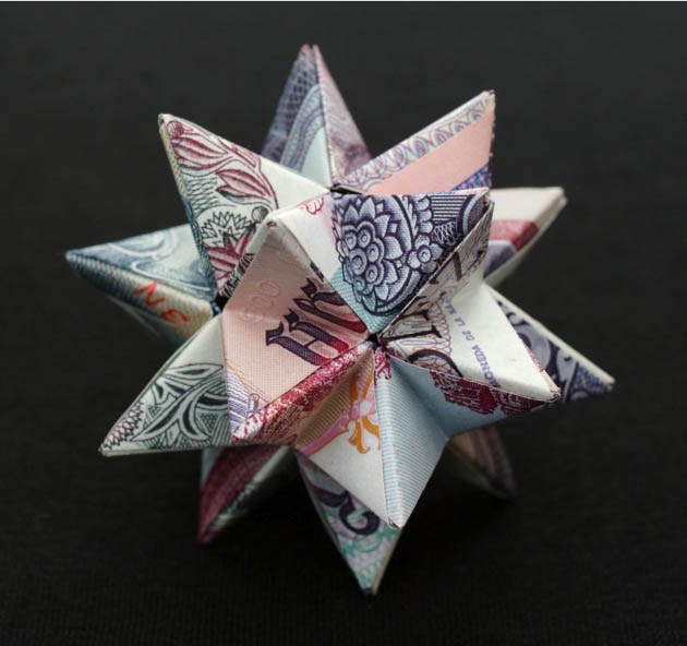 geometric shapes made from currency kristi malakoff 4 Geometric Shapes Made from Currency