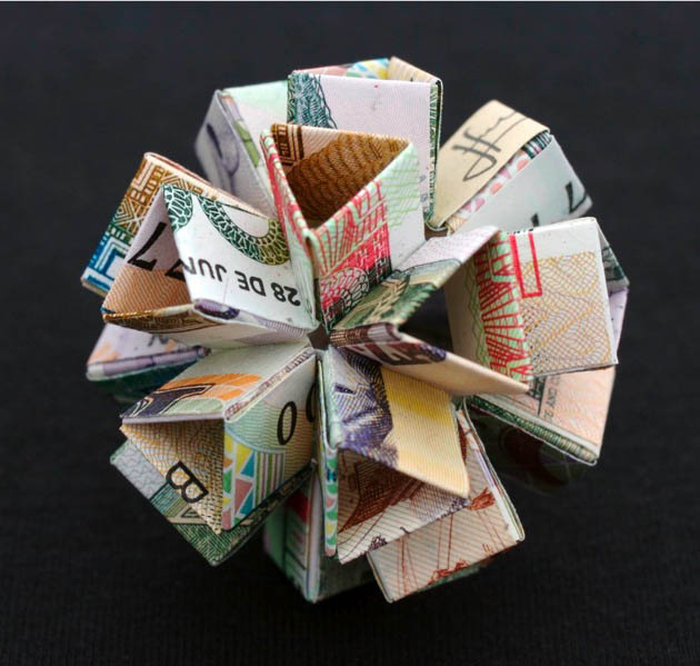 geometric shapes made from currency kristi malakoff 5 Geometric Shapes Made from Currency