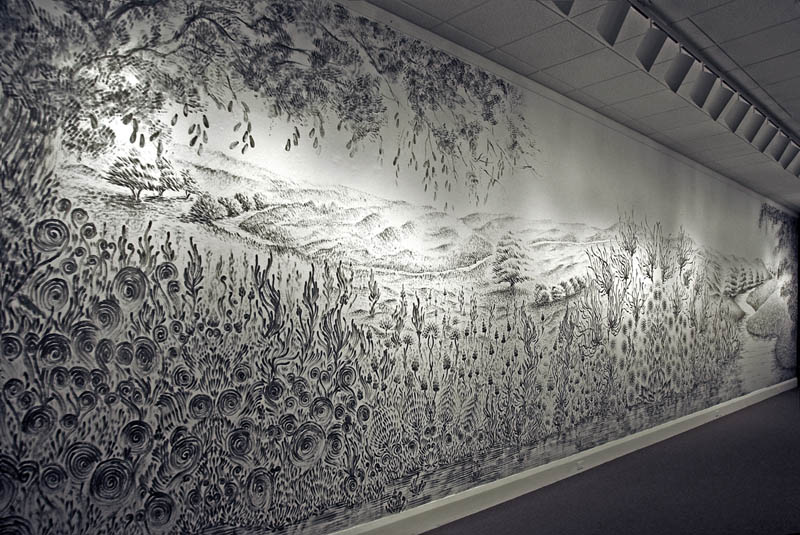 large charcoal mural judith ann braun 1 Adonna Khares Amazing 288 sq ft Elephants Mural Drawn by Pencil