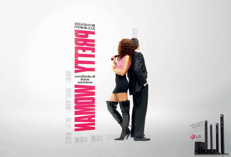 pretty woman movie poster different side angle 3d lg ad Famous Movie Posters in a 3D Environment