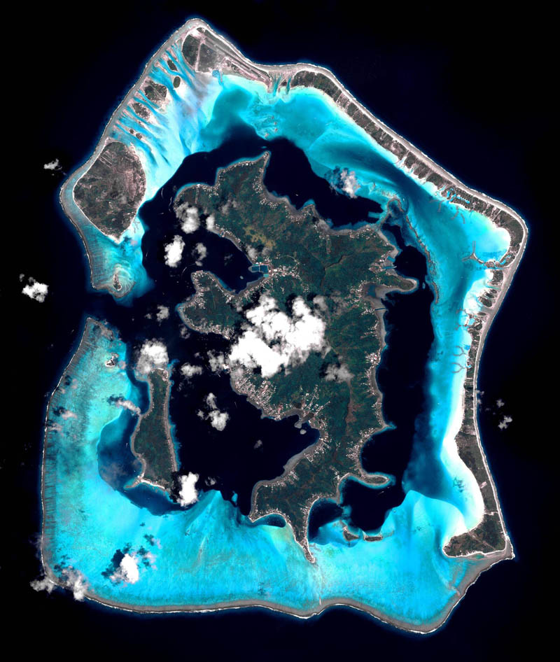 satellite aerial bora bora from space pleiades france The Top 100 Pictures of the Day for 2012