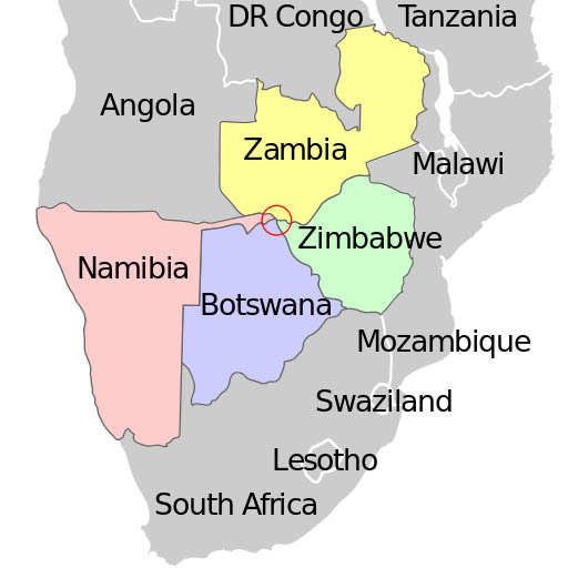 african quadripoint on map botswana namibia zambia zimbabwe Where Three Countries Meet: Famous Tripoints Around the World