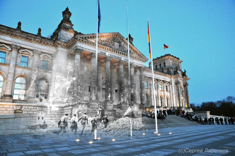 blending scenes from wwii into present day storming reichstag berlin germany San Francisco Earthquake Photos Blended Into Present Day