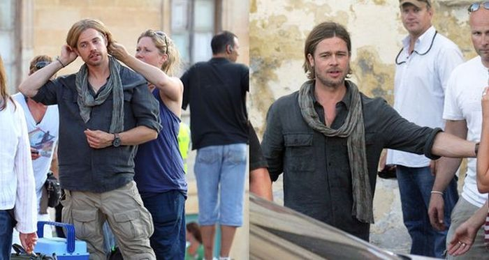 brad pitt and stunt double 30 Actors Posing With Their Stunt Doubles
