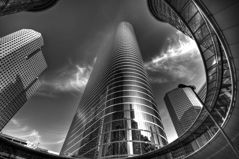 Chevron building houston tx black and white architecture photography by joel tjintjelaar