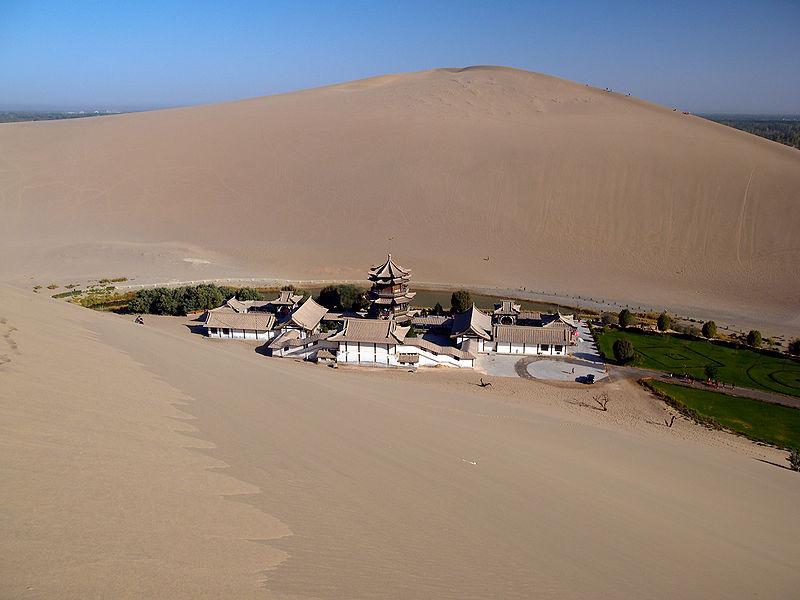 china crescent lake desert oasis Crescent Lake: A Desert Oasis in China