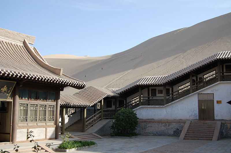 crescent lake desert oasis dunhuang china inside building Crescent Lake: A Desert Oasis in China