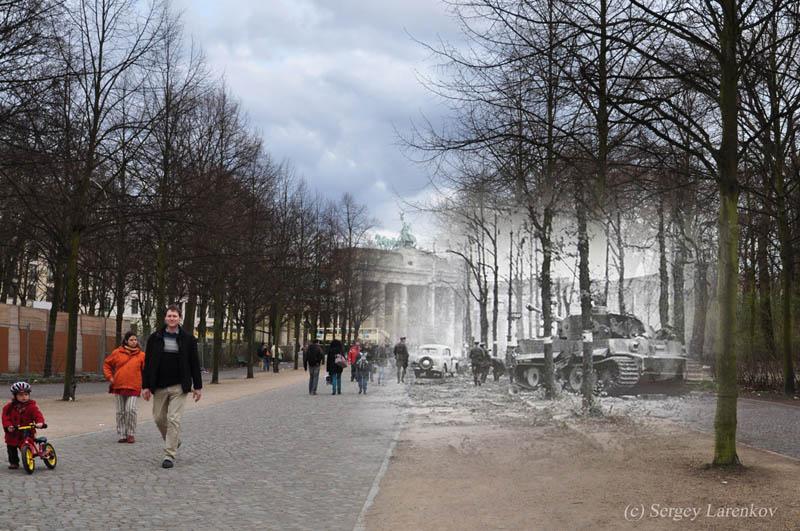 destroyed tank tiger in the tiergarten park berlin 1945 2010 Blending Scenes from WWII into Present Day