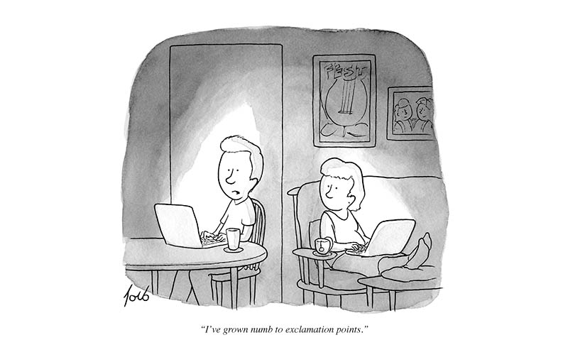 grown numb to exclamation points comic strip new yorker tom toro Exclamation Points [Comic Strip]