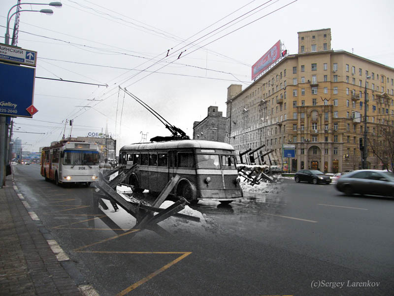 moscow kutuzovsky 1941 2009 trolleybuses moscow kutuzovsky prospekt 1941 2009 trolleys Blending Scenes from WWII into Present Day