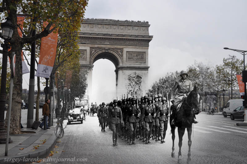 paris 1940 2012 parade of the occupants Blending Scenes from WWII into Present Day