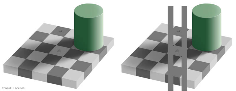 shaow illusion same color checkerboard with cylinder 1 12 Optical Illusions Made from Shadows