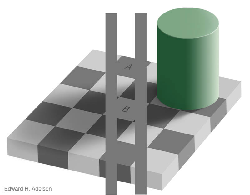 shaow illusion same color checkerboard with cylinder 2 12 Optical Illusions Made from Shadows