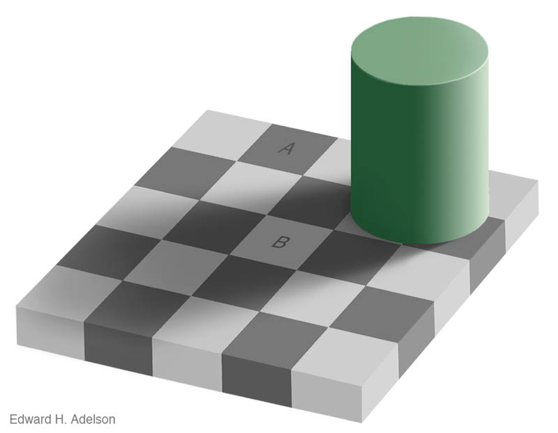 shaow illusion same color checkerboard with cylinder 3 12 Optical Illusions Made from Shadows