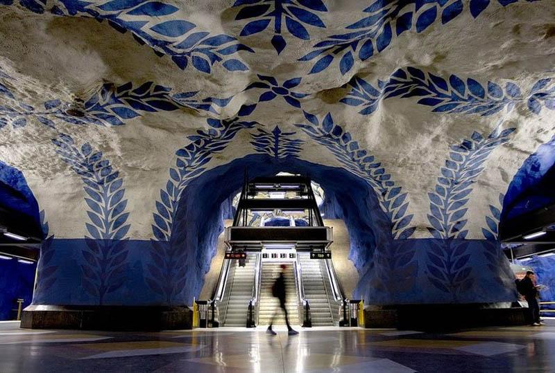 stockholm metro subway art sweden worlds longest art gallery 14 Worlds Largest Underground Trampoline Set to Open in July