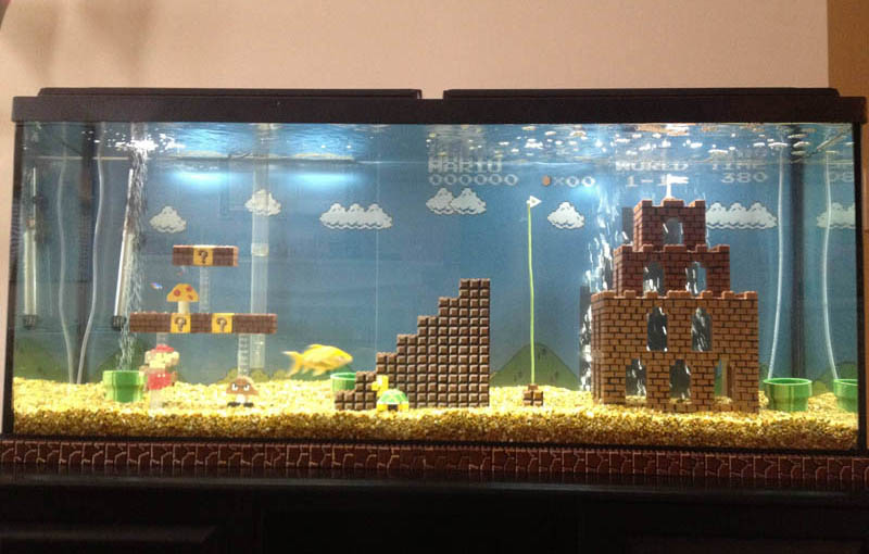 super mario fish tank aquarium Cool Custom Fish Tank Headboard for your Bed