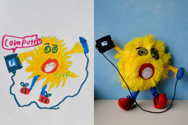 turn kids childrens drawings into plush toys dolls 11 Creative Mom Turns Kids Drawings into Plush Toys