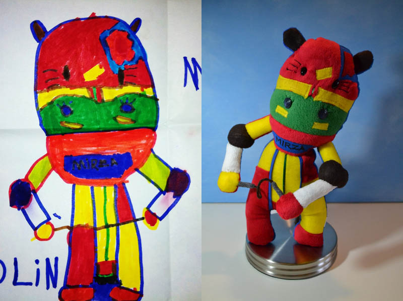 turn kids childrens drawings into plush toys dolls 18 Artist Turns Her 2 Year Olds Sketches Into Watercolor Paintings