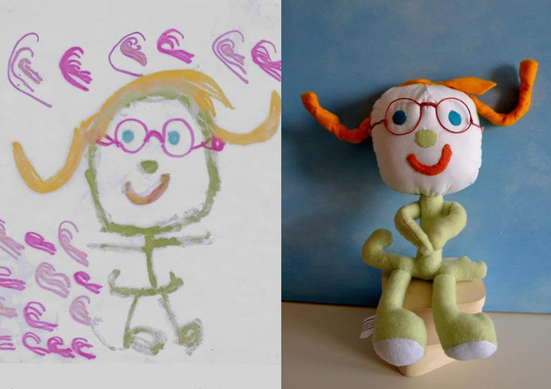 turning kids childrens drawings into plush toys dolls 4 Creative Mom Turns Kids Drawings into Plush Toys