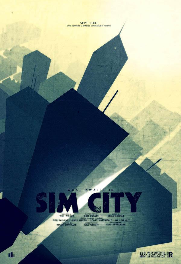 video game movie posters ron guyatt sim city 14 Creative Video Game Inspired Movie Posters