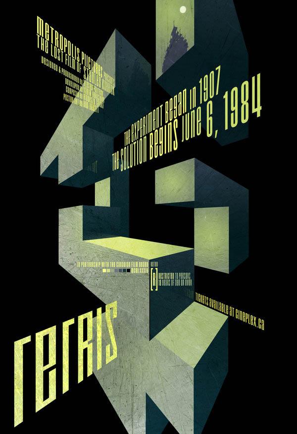 video game movie posters ron guyatt tetris 14 Creative Video Game Inspired Movie Posters