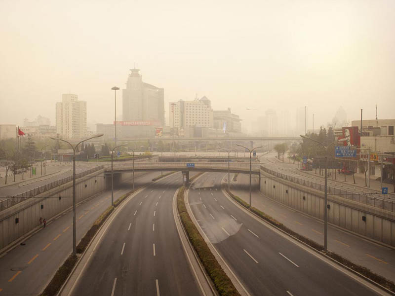 xizhimen ring road 250x320cm 2010 silent world without people lucie and simon Visions of Cities Without People